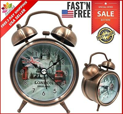 Best Vintage Mechanical Wind-Up Clocks Analog Twin Bell Alarm Clock New