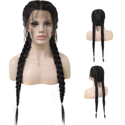 FT- Synthetic Braided Front Lace Women Hair Wig Long Cosplay Hairpiece Prop Raki