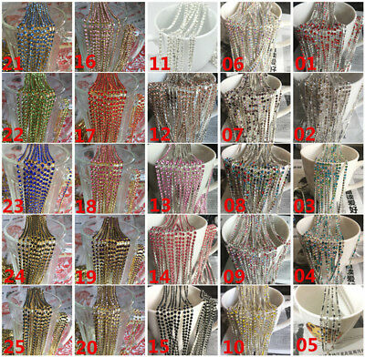Wholesale SS10 Crystal Glass Rhinestone Chain Gold/Silver Trim Sewing Crafts