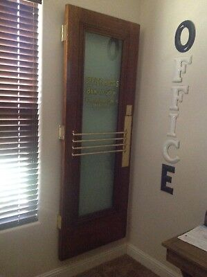 Vintage Oak Office Door With Brass Hardware