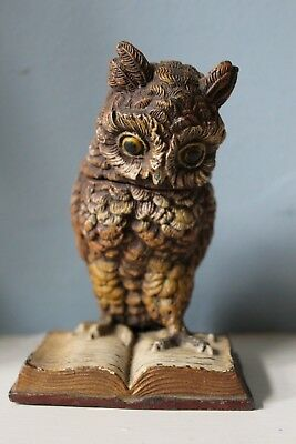 Antique Cold Painted Spelter Owl & Book Inkwell