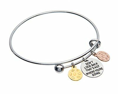 Don't Look Back That's Not Where You're Going Inspirational Adjustable Charm ...