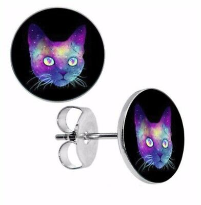 Cat Stud Earrings Psycho Cat Pair of Unisex Boho Goth Boho Alternative