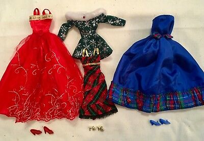 Barbie Fashion 4 Holiday Evening Gowns/Party Dresses Shoes Christmas