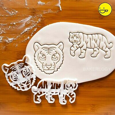 Set of 2 Tiger cookie cutters   animal conservation endangered wildlife biscuits