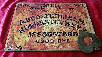 Wooden Ouija Board Spirit World & Planchette ghost hunt Instructions Witch Pagan