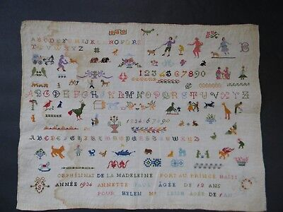 RARE VINTAGE HAITIAN SAMPLER from the MADELEINE ORPHANAGE in PORT AU PRINCE