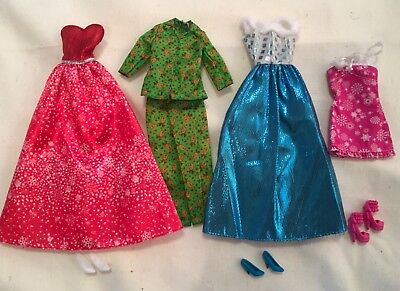 Barbie Fashionista 3 Holiday Dresses, Reindeer PJs, Shoes Christmas Gowns