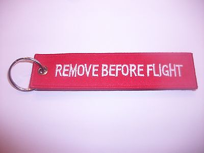 RAF Red Embroidered 'Remove Before Flight' Keyring / Keychain / Luggage Tag x 1