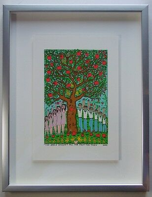 James Rizzi The apple doesn't fall far from - Farblithografie 2-D Grafik gerahmt