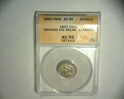 1865 Copper Nickel, 3 Cent Piece Obverse Die Break/cud >Anacs< Us Error Coin