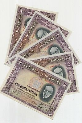 Spain set with 5 Banknotes 50 Pesetas 1935, P.88_F/F+