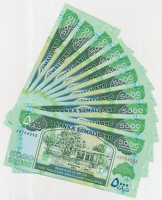 Somaliland set with 10 Banknotes 5000 Shillings 2011, P.21_UNC