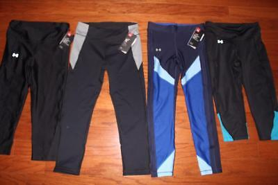 Lot 4 Under Armour Heatgear Womens Compression Crop Pants Capri Fitted Small Nwt