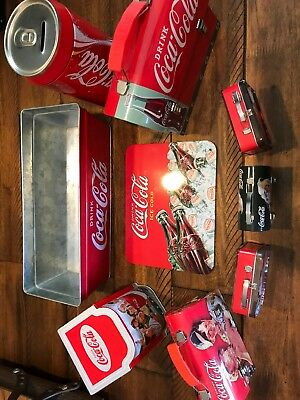 Coca Cola Tin Canisters and Containers, Lot of 9
