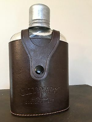 Vintage Cutty Sark Blended Scotch Whiskey Flask Leather Case