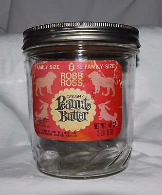 Vintage 40 oz glass Robb Ross Creamy Peanut Butter jar, with lid