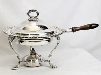 Vintage Towle Silver Plated Ornate Chafing Dish Server w/ Lid Base & Wood Handle
