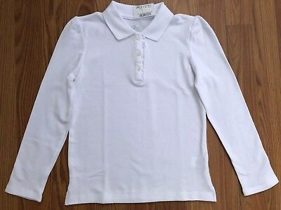 NWT The Children's place white polo Long Sleeve Ruffle Size M 7/8