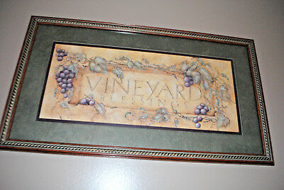 """HTF Homco Home Interiors Vineyard Blessings Picture 24"""" x 14"""" Grapes Vine"""