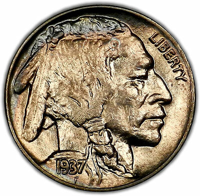 1937 GEM BU Toned Buffalo Nickel 5 Cent - Nice color and Very Lustrous