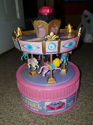 1997 Wind Up Musical Carousel Jewelry Box Moose Mountain Toymakers