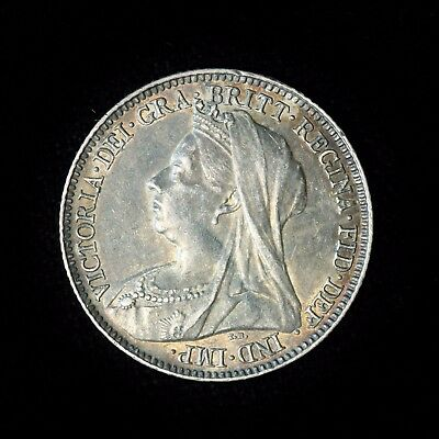 Great Britain Silver 6 Pence 1897 Toned EF