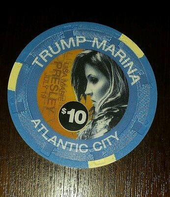 LISA MARIE PRESLEY 2003 $10 TRUMP MARINA CASINO CHIP LIMITED TO 1000 Great Chip