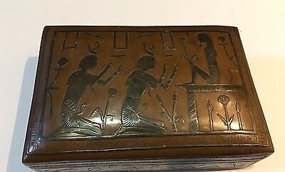 Antique Copper Box w/ Inlaid Silver Ancient Egyptian Figures