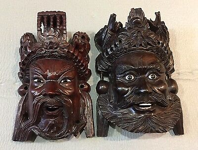 Antique Pair of Oriental Chinese Handcarved Wood Mask