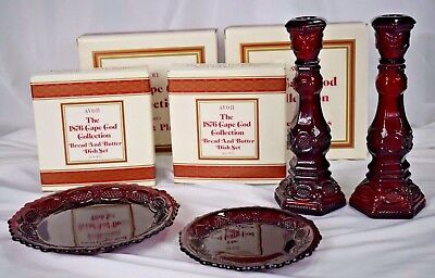 Vtg Lot Avon Cape Cod Ruby Red: Dessert & Bread/Butter Plates & Candle Holders