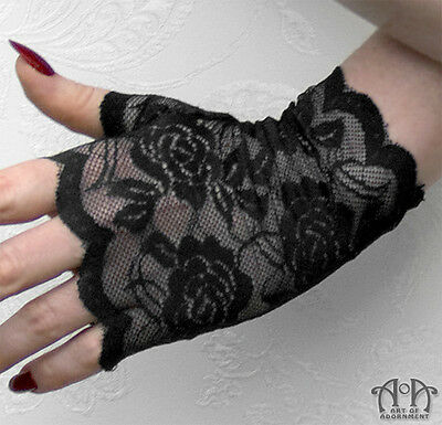 Gothic Black FINGERLESS STRETCH LACE GLOVES Short Wrist Length Steampunk G03