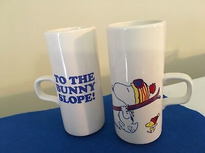 """Vintage Snoopy and Woodstock """"To The Bunny Slope!"""" Tall Mugs"""