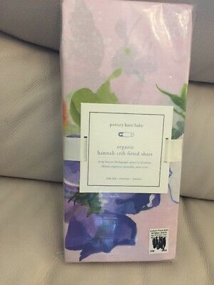 1 Pottery Barn Kids Baby Organic Hannah Crib Fitted Sheet Pink Floral Print New