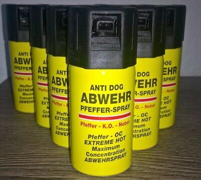 Pfefferspray  ANTI DOG 40ml EXTREME HOT FOG 10 Dosen 20,29 Euro