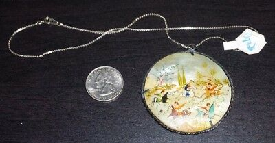 "Vintage Antique Silver Persian Mother of Pearl Pendant 14"" Hand Painted A19"