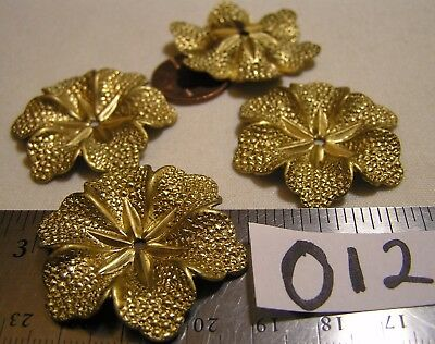4 Vtg Old Fancy Brass 39mm Detail Flower w Hole Jewelry Findings Craft Stampings