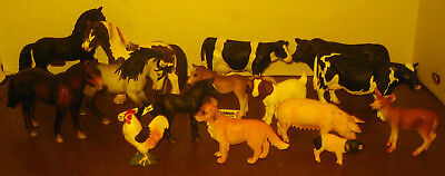 15 Schleich Lot - Horses, Cows, Bull, Pigs, Dog, Rooster, Goat, Fawn
