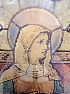 FREE SHIPPING - Pair 19th C. Watercolor Sketches of Stained Glass Window