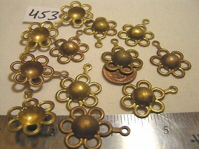 6 Vtg Old Fancy Brass 24mm Flower w Domed Center & Dangle Jewelry Findings Craft