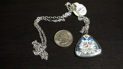 Vintage Antique Silver Persian Mother of Pearl 2 sided Pendant Hand Painted A36