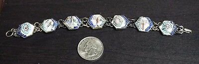 "Vintage Antique Silver Persian Mother of Pearl Bracelet 7"" Hand Painted A37"