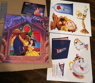 Disney D23 FANniversary Magazine Cut Outs Beauty And The Beast Stained Glass New