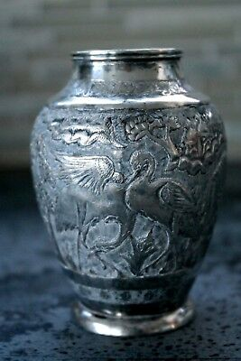 Beautiful Antique Persian Solid Silver Vase By Reza Parvaresh