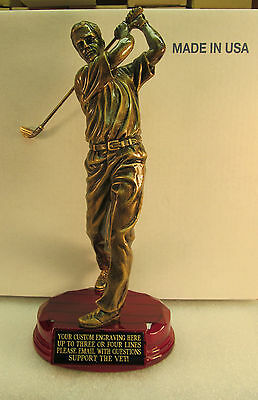 "Golf Trophy Bronze 12 1/4"" Tall Rosewood Base Free Custom Engraving 2 Day Mail"