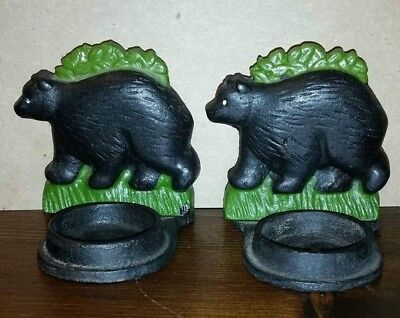 2 Vtg Black Bear Cast Iron ? Candle Holders - Adirondack Cabin Lodge Home Decor