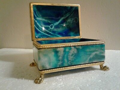 Antique French Crystal Glass Jewelry Box Casket