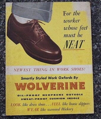 "WOLVERINE SHOES CARDBOARD SIGN VINTAGE 1940s 1950s ""WORK OXFORDS"" LIKE SLIPPERS"