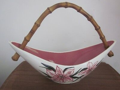vintage retro STUDIO ANNA Boomerang shaped CANE HANDLED BASKET Orchids imperfect