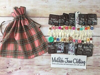 Matilda Jane Exclusive Bag 30 Spare Buttons Tags Bumper Sticker Plaid Craft Hair